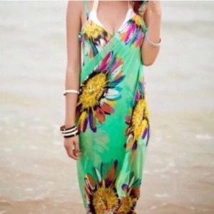 green BEACH cover up bathing suit wrap DRESS swim